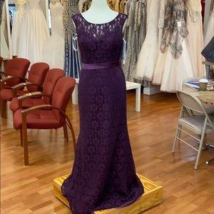 Aubergine purple bridesmaid dress